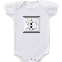 GUCCI GUCCI COO bear graphic short or long sleeve baby bodysuit or toddler top for boys or girls