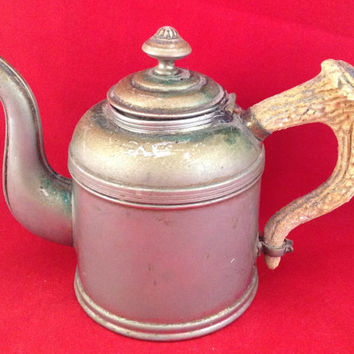 Antique Coffee/teapot Rome Metal Ware 1, Stag handle. Great Patina, well loved and used.