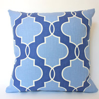 Blue Pillow Covers with Fabric on Both Sides, Geometric Pattern, 20x20,