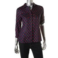 Charter Club Womens Petites Linen Printed Button-Down Top