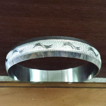 Vintage Silver Monet Bangle Bracelet, Rare Diamond Cut Design, Signed