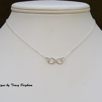 Infinity Sterling Silver Wire Pendant Necklace Best Friend Bridesmaid Maid of Honor Mother Sister Gift