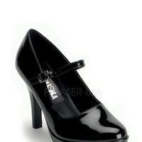 Black Closed Toe Maryjane Heels Patent