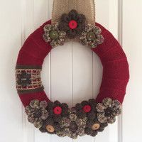 Woodsy Christmas Winter/Christmas wreath, winter home decor, shabby chic Christmas wreath, shabby chic winter wreath, yarn and burlap wreath
