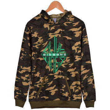 NEWEST Bigbang Kpop Camouflage Style Hoodies Men Hip Hop Streetwear Long Simple Design Hoodies Men Hip Hop With Plus Size 4xl