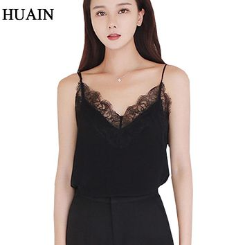 Lace Top Camis Sexy Tank Top Women Camisole Ladies 2018 New Solid Colour V-Neck Sleeveless Shirt Backless Summer Shirt Female