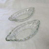 2 Vintage Thick Glass Relish Trays - Pair of Antique Glass Celery Dishes Oblong - Shabby Kitchen - Country French Serving Glass Bowls