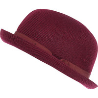 River Island Womens Dark red soft bowler hat