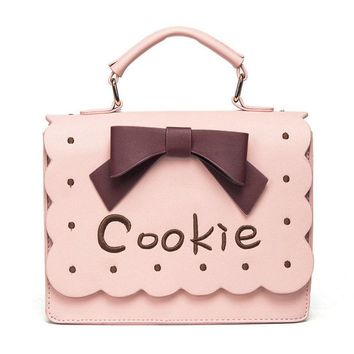 Lolita girl's cookie bow handbag women's fashion letter satchel handbag easy tote cute ladies embroidery ruffle crossbody bag