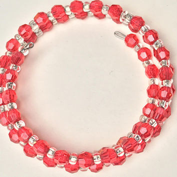 Red and Clear Faceted Bead Bracelet / Spiral Memory Wire Cuff Bracelet / Vintage Valentines Day Bracelet / Simple Cute Wire Wrap Jewelry
