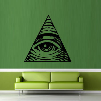 Wall decal decor decals art sticker all seeing eye annuit coeptis illuminati god triangle mason undertakings favorably (m769)