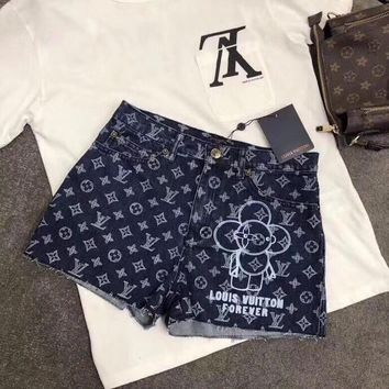 """Louis Vutitton"" Women Casual Fashion Letter Logo Mascot Pattern Print Denim Shorts"