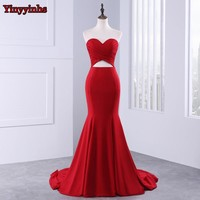 Yinyyinhs Backless Long Prom Gown 2017 Mermaid Vestido De Festa Sweetheart Pleated Evening Prom Dresses GG-105