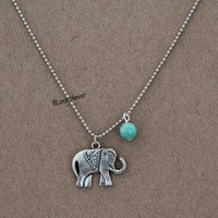 elephant necklace,turquoise necklace,short necklace,beaded chain,,bridesmaids wedding gift,personalized love gift,besties sisiters gift