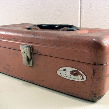 Vintage Metal Tackle Box Steel Fishing Tote Craft Bin