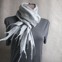 men wool felted scarf LIGHT GRAY winter felt warm by manonknits