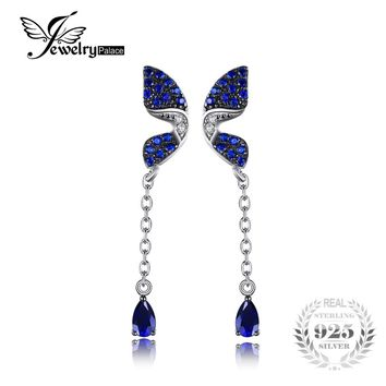JewelryPalace Butterfly 0.6ct Pear Created Sapphire Created Blue Spinel Drop Earrings 925 Sterling Silver Fine Jewelry For Woman