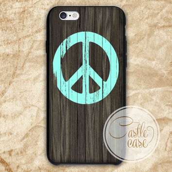 peace wood mint iPhone 4/4S, 5/5S, 5C Series Hard Plastic Case