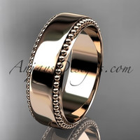 14kt rose gold classic wedding band, engagement ring ADLR380G