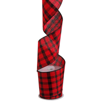 Red and Black Plaid Wired Ribbon 4-in x 10-yds