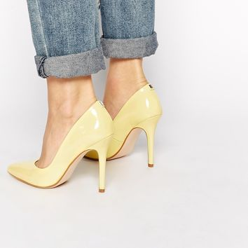Faith Callways Lemon Patent Heeled Court Shoes