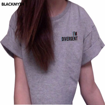 I'M DIVERGENT Casual Summer Black White Letters Printing Loose Fashion Women T-shirt Tops
