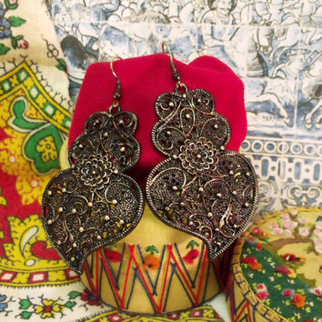 Portuguese folk Black Viana Heart earrings Portugal art jewelry
