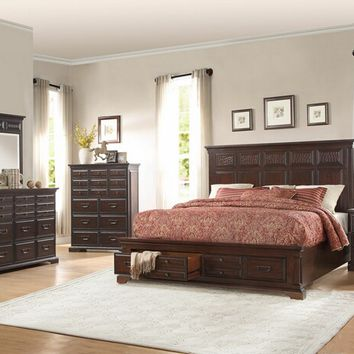 Home Elegance 1832-5PC 5 pc nealon collection warm distressed cherry finish wood storage footboard bedroom set