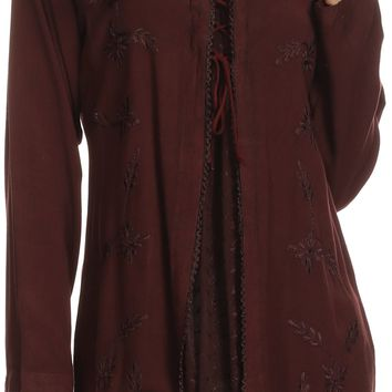 Sakkas Caylyan Long Adjustable Embroidered Long Sleeve Blouse With Corset Top