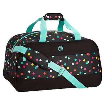 Jet-Set Black Confetti Dot Duffle