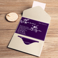 Dark purple monogram pocket invitation for wedding – printable wedding invitations kit – elegant and modern wedding cards EWPI043