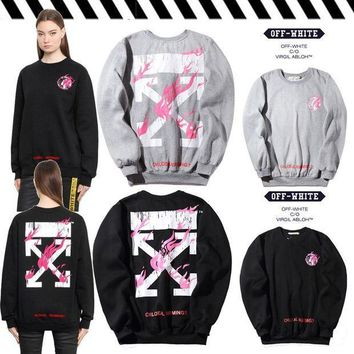 PEAPGZ9 OFF WHITE Winter Stripes Round-neck Pullover Hoodies [11501027660]