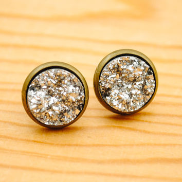 Resin Druzy Earrings - Light Silver - Druzy Stud Earrings
