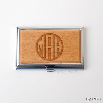 Monogram Bamboo Business Card Holder - Personalized Engraved Wood Business Card Holder