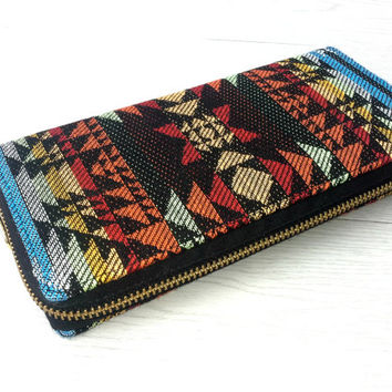 Southwestern Navajo Zippered Wallet, Womens Long Wallet Clutch, Handmade Aztec fabric iPhone wallet, Boho travel wallet, YKK gold zipper