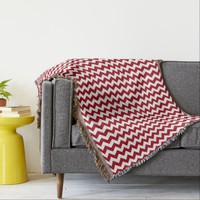 Cranberry Red And White Chevron Pattern Designer Throw Blanket