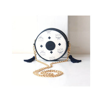 MCM Visetos White Navy Tambourine Round Tassle Golden Chain Shoulder bag