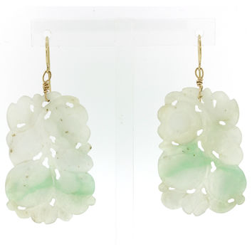 1920s Antique Art Deco Estate 14k Solid Yellow Gold Carved Jade Hanging Earrings