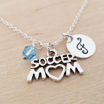 Soccer Mom Charm - Sport Necklace -  Swarovski Birthstone - Initial Necklace - Personalized Necklace - Sterling Silver Necklace