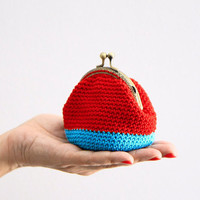 Crochet coin purse, the Red Keeper, in red and turquoise