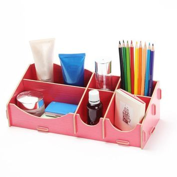 Wooden Cosmetic Case Holder Display Stand Storage Box