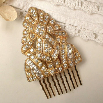 ORIGINAL 1920s - 30s Art Deco Flapper Clear Rhinestone Gold Bridal Hair Comb, TRUE Vintage Heirloom Fur Clip on Gold Plated Haircomb