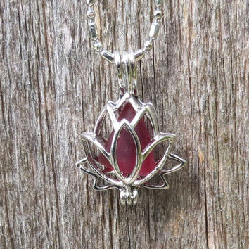 Sea Glass Lotus Flower Locket Ruby Red by Wave of LIfe