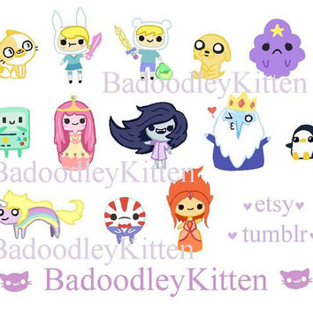 13 kawaii adventure time sticker flakes. matte