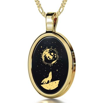 """I Love You to the Moon and Back"", 24k Gold Plated Necklace, Onyx"