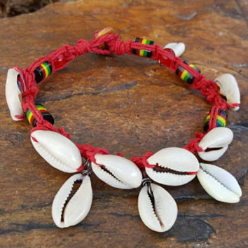Hemp Anklet, Good Vibes, Cowrie Shells, Gift for Her, Hemp Jewelry, Handmade,  Rasta Anklet, Beach Anklet, Summer Jewelry, Shell Anklet