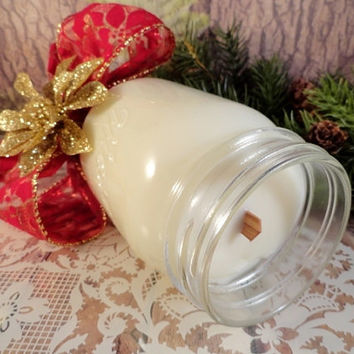 Country Christmas Centerpiece Soy Candle, Cranberry Marmalade Fragrance, Mason Jar Stemmed Wineglass,Table Décor, Hand-Poured, ECO Friendly