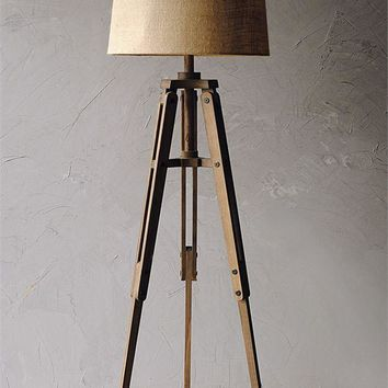 Mariner Wood Tripod Floor Lamp with Burlap Shade -- 62-1/2-in