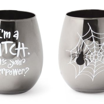 I'm a Witch. What's your superpower? Stemless Wine Glass