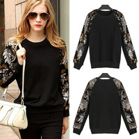 Autumn Women Knitting Blouse Long Sleeve Sequin Round Neck Cocktail Party Top Blouse = 1667687876